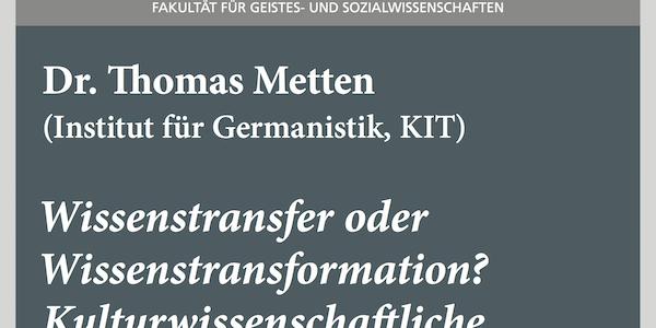 """#wmklauscht: Thomas Metten – """"Wissenstransfer oder Wissenstransformation?"""""""