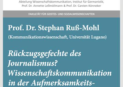 """#wmklauscht: Stephan Ruß-Mohl – """"Rückzugsgefechte des Journalismus? Wissenschaftskommunikation in der Aufmerksamkeitsökonomie"""""""