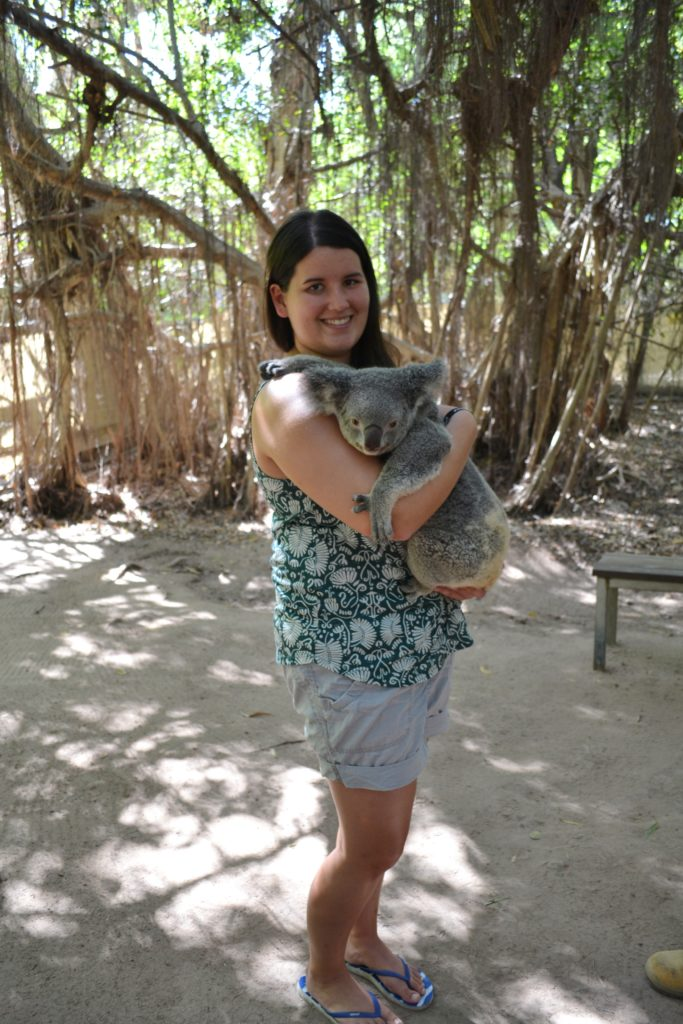 Tanja Schmith mit einem Koala-Bären