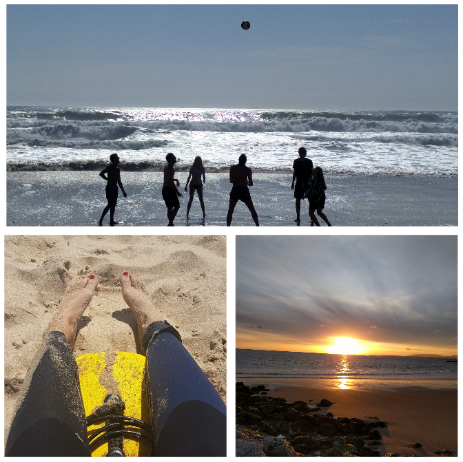 Collage mit Meer, Strand und Beach-Volleyball-Gruppe